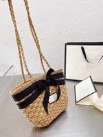 Trendy All-Match Classic Straw Woven Woved Basket Bag retro diagonal un hombro