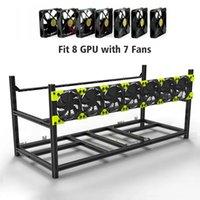 8 GPU en aluminium empilable de l'air ouvert de l'air mini-cadre de cadre d'ordinateur RIGHERUM 7 FANS MINER MINIER MINING-FRAMINE-RIG BITCOIN Étui en rack