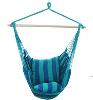 Hanging Hammock Portable Travel Camping Home Bedroom Canvas Lazy Swing Chair Garden Indoor Hammocks Swings Seat Chairs Ocean FWE6498