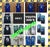 Dallasen Mens Jugend Kinder Basketball-Trikots Luka Doncic 77 Dirk 41 Nowitzki Kristaps 6 Porzingis Jason 5 Kidd mit echten Tags genäht