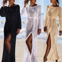 Повседневные платья 70% продают летние женщины полые вязаные с длинным рукавом высокого разрыва бикини накрыть макси