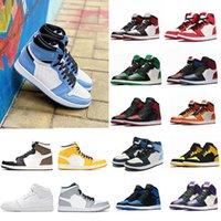 Jumpman  jordan 1 Basketball Shoes Running shoes 새로운 한 높은 OG 농구 신발 1 초 로얄 블랙 발가락 핑크 그린 블랙 법원 보라색 흰색 UNC 특허 남성 운동화 트레이너 유로 36-46