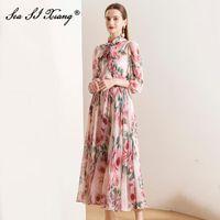 Costiangiang moda diseño primavera verano vestido de gasa mujer encaje arco rosa floral estampado grande péndulo vacaciones vestidos largos casual
