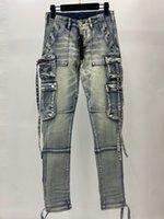 new mens Luxury designer jeans Pocket tooling blue black Skinny zipper knee Spell Top Quality Fashion jean Man Pants Clothing