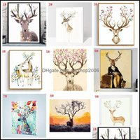 Paintings Arts, Crafts Gifts Home & Garden Diy Decorated Animal Picture Art Paint Hand Painted Deer Oil Painting For Sofa Wall Decor No Fram