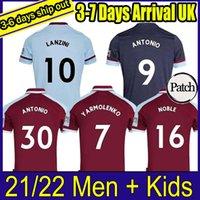 Top Thailand 21 22 축구 유니폼 2021 2022 Lingard Bowen Benrahma Anderson United Rice Noble 축구 셔츠 남성 + 키즈 키트 세트