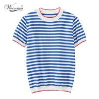 Isınma İnce Örme T Gömlek Kadın Giysileri Yaz Kadın Kısa Kollu Tees Çizgili Rahat T-shirt Kadın B-019 Tops Tops