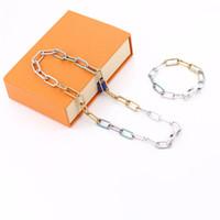 Womens Halskette Hohe Qualität Unisex Ketten Bambus Blaue und Silber Dame Einfache Mode Halsketten Persönlichkeit Erste Wahl für Party mit Kasten
