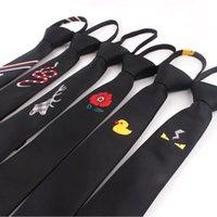 Cravates à glissière pour hommes Femmes Casual Collectacles Simple Craviche Garçons Convient à la noix Slim Black Broderie Gravatas