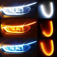 2pcs LED DRL Car Daytime Running Light Flexible Waterproof Strip Auto Headlights White Turn Signal Yellow Brake Side Flow Lights Surface Decorative Lamp 12V