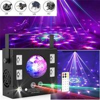 LED Sahne Lazer Aydınlatma DMX Projektör 4 in 1 Strobe Flaş Uzaktan Kumanda Sihirli Kristal Top UV Etkisi Işın Noktası Xmas Işıkları DJ Disko Müzik Remotes