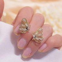 Lexie Diary Fashion14k véritable plaqué or creux creux femmes femmes bling cristal zircon goujon boucles d'oreilles engagement de mariage bijoux cadeau