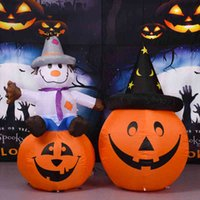 Inflatable witch hat with LED lights for Halloween and Christmas, pumpkin hat for black cat decoration, garden, courtyard, toy props.