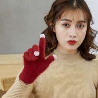 Kadın Mittens Yün Dokunmatik Ekran Örme Vizon Kürk Kalınlaşmış Kış Sıcak Eldiven