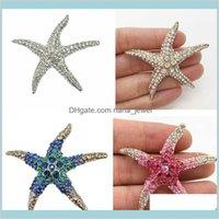 Pines Broches Joyería Alta Calidad Venta Pink Crystal Big Starfish Wedding Bouquet Ramo de lujo Broche Sparkling Diamante Star para