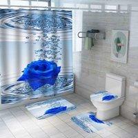 Shower Curtains Ocean Sea Beach Shell Print Bath Curtain Polyester Waterproof Bathroom Carpet Rugs Set Non-slip Mat 59x71''