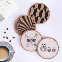 14 Stiller Cork İçecek Bardak Çay Kahve Emici Yuvarlak Fincan Mat Masa Dekorasyonu Ev kaymaz Toptan OWF6199