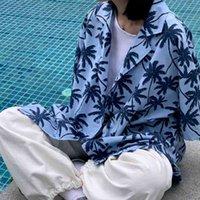 Houzhou Gawaiin рубашка лето Harajuku Vintage Bearabies с коротким рукавом кардиган пляж накрыть левый напечатанный корейский модный блузку
