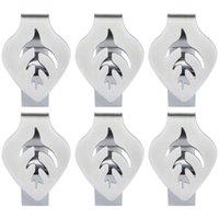 6 stücke Tischdecke Clips Tischabdeckung Edelstahl Blatt Design Rutschfest Für Outdoor Restaurant Serviette Ringe