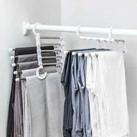 في 1 بانت رف رفوف متعددة الوظائف الملابس شماعات الفولاذ المقاوم للصدأ تخزين خزانة خزانة خزانة السحر السحرية الوظيفية الشماعات المنزل رفوف