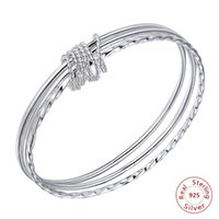 Fashion Bangle Classic Round 999 Sterling Silver Jewelry Three Circle Girl Full Bracelet For Women Wholesale