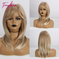 LANA Shoulder Medium-length Hair Ombre Brown Blonde Mixed Color Synthetic Wig Straight With Bangs Heat Resistant For Women1