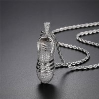 Hip Hop Sneakers Pendant Pave Bling Full Cubic Zircon Sport Necklace Creative Sports Shoes Charms Rock Jewelry Necklaces