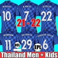 Chelsea 21 22 WERNER PULISIC KANTE Herren Fußballtrikots + Kindergarnituren mit Socken MOUNT CHILWELL ZIYECH 2021 2022 Saison Fußballtrikots Trikots