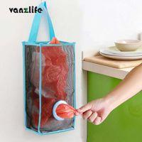 Hanging Baskets Kitchen Garbage Bags Organizer Mesh Storage Bag Convenient Extraction Take In Basket