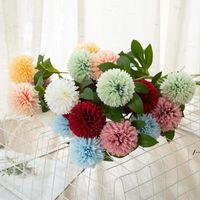Flores artificiales Tenis de tenis Chrysanthemum Decoraciones para el hogar Flower Dandelion Decoración de la boda Arreglo Flor artificial HHB8878