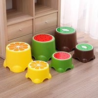 Colors Lovely Cartoon Stools Fruit Pattern Living Room Non-slip Bath Bench Child Stool Plastic PP Changing Shoes Accessory Set