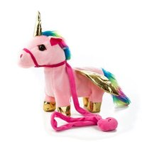 Mascotas electrónicas Animal Toy Electric Pelush Toys Soft leash Unicorn Music Walking Twist Funning Sounding Doll Niños Regalo