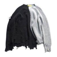 Suéteres de mujer otoño invierno hombres rasgado agujero remiendo remiendo de granizado suéter de punto irregular diseño hip hop punk knitwear mujer vintage jersey 3ysy