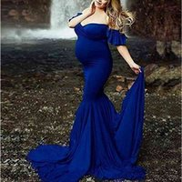 Maternity Dresses For Photo Shoot Pregnant Women Sexy Shoulderless Mermaid Clothes Pregnancy Dress Baby Shower Photography Props 267 Z2