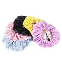 Caps & Hats Fashion Baby Silky Satin Bonnet Double Layer Adjustable Sleep Cap Girl Solid Night Turban Headwear Cute Hair Wear