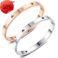 New Japanese and Korean h ornament hollow Star Stainless Steel Diamond Men's women's bracelet Pentagram titanium steel