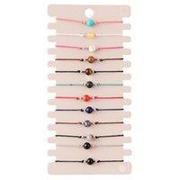12 unids / sets piedra natural hechos a mano tejidos tejidos pulseras brazaletes para las mujeres regalo de cumpleaños de la joyería de la joyería de la cuerda ajustable 3636 Q2