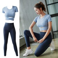 Lulu nude yoga pants hip lifting fitness short sleeve top sports quick dry running two piece Yoga suit