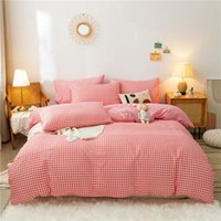 Bedding Sets Fashion Grid 3 4pc Set With Buttons Soft Duvet Cover Quilt Bed Sheet Pillowcase Full King Single Queen