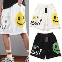 21ss homens shorts solto casual calças de praia homens verão maré personalizado graffiti smiley face workwear adolescente curta calça