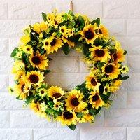 Artificiale Girasole Summer Wreath-18 pollici Decor Flower Flower per forniture festive del partito