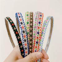 Çocuklar için Bantlar Kız Prenses Hairbands Nakış Kumaş Çiçek Çocuk Saç Aksesuarları Kore El Yapımı Toptan