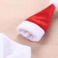 크리스마스 장식 참신 크리스마스 맥주 병 소매 크리스마스 저녁 파티 선물을위한 모자와 함께 레드 와인 병 커버 옷 hwd9448