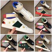 Diseñador hombres mujeres zapatos blancos abeja serpiente tigre alto pandilla zapato casual zapatillas chaussures de cuero genuino zapatillas de deporte bordado entrenadores clásicos Python Sneaker con caja