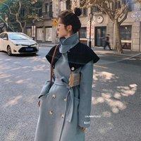 Women's Wool & Blends 2021 Elegant Autumn Winter Fashion Long Woolen Coat Women Thick Warm Shawl Hit Color Double Button Lapel Overcoat DJN3