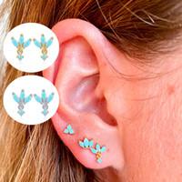 925 Sterling Silver Earring Minimalistische Bohemen Bling Turquoise Piercing Stud Oorbellen voor Vrouwen Meisjes Liefhebbers 'Verjaardagscadeau 836 Z2