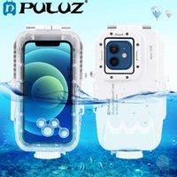 Puluz 40m / 130ft ماء الغوص الإسكان صور الفيديو أخذ حالة تحت الماء ل iphone 12 برو ماكس / 11 برو ماكس / 12/12 الموالية / 12 مصغرة G0929