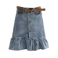 Skirts Arrival Spring Autumn Single-breasted Denim Skirt Women High Waist Solid Trumpet Ruffles Jean Plus Size S451