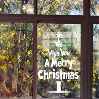 We Wish You A Merry Christmas Quotes Tree Wall Sticker For Shop Home Decoration Vinyl Window Decal White Xmas Festival Mual Art