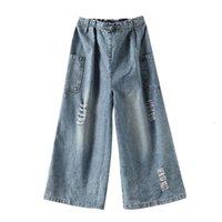 Women's Jeans Calça feminina de cintura alta com três pontos, jeans retrô alta, casual, folgada, rasgada, estilo rua, primavera, Z